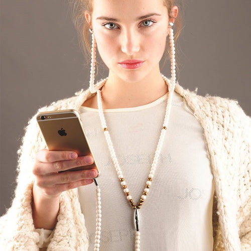 Pearl Earphones Necklace girl Birthday Gift idea - Shopper Needs