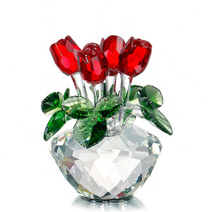 Crystal Glass 4 Roses Handmade Bouquet Perfect finish - Shopper Needs