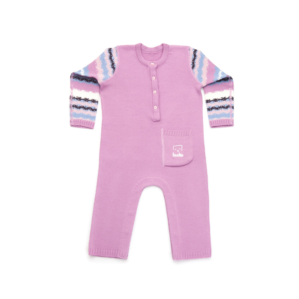 Knitted overall sleeve stripes - Laska Kidswear