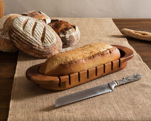 Oval Loaf Bread Board with Pewter Wheat Knife
