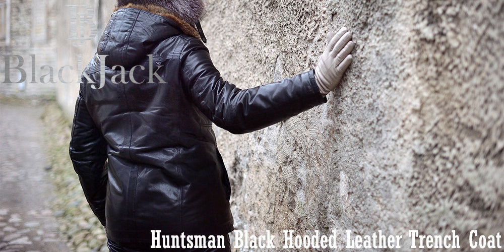 Huntsman Black Hooded Leather Trench Coat