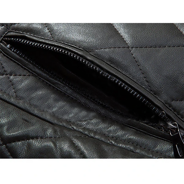 Thick Fleece Stand Collar Leather Jacket | Black jack leathers