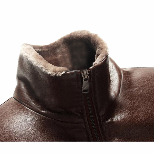 Brown Faux Thick Fleece Leather Jacket