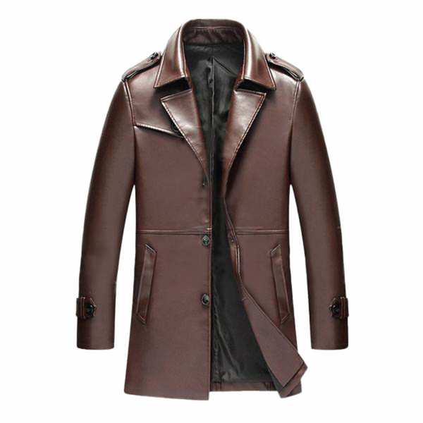 Brown Business Epaulets Leather Jacket