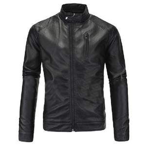 Black Casual Real Sheep Biker Leather Jacket