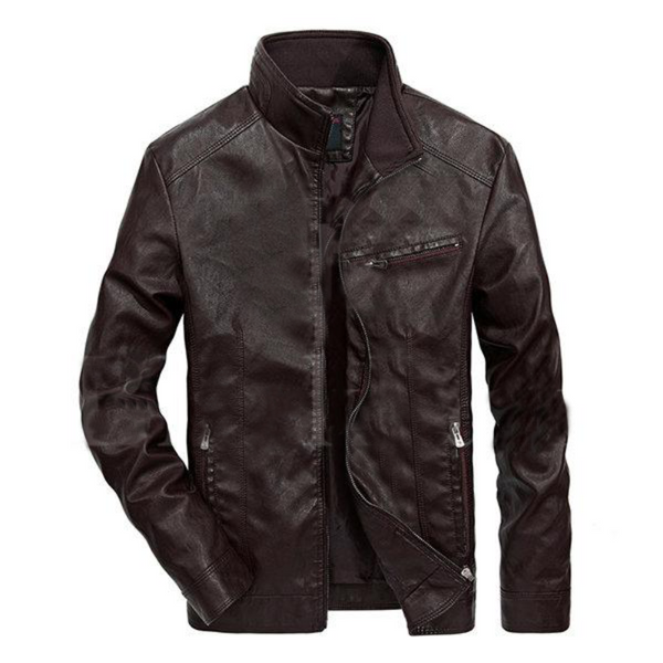 Khaki Stylish Zipper Pockets Leather Jacket