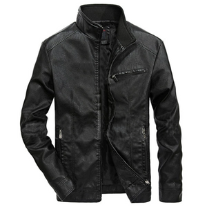 Black Stylish Zipper Pockets Leather Jacket