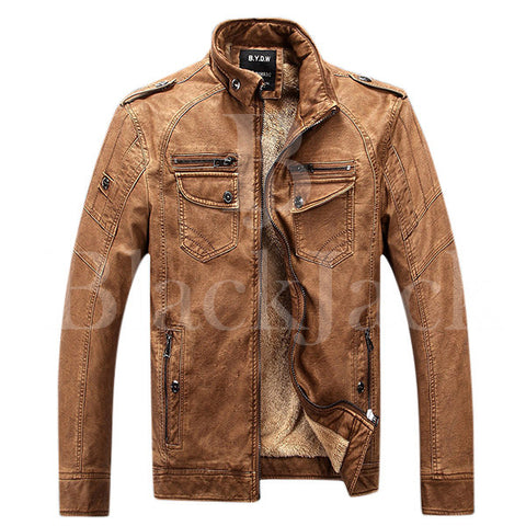 Multi Pockets Epualets Leather Jacket|BlackJack Leathers