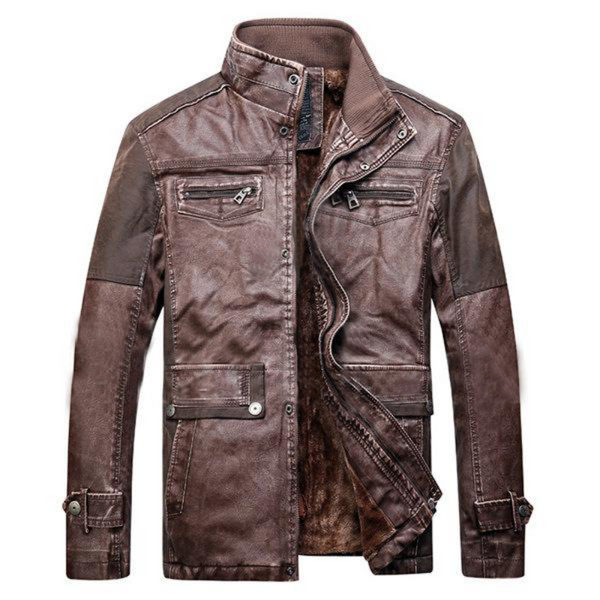 Coffee Patchwork Multi Pockets Leather Jacket