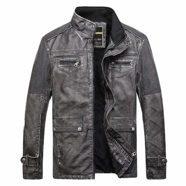Black Patchwork Multi Pockets Leather Jacket