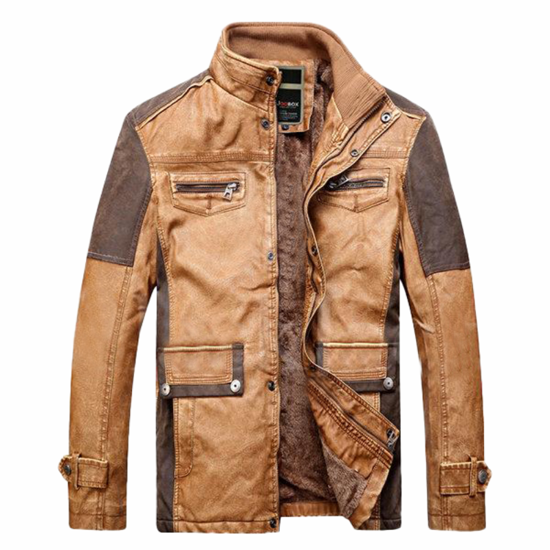 Titan Patchwork Multi Pockets Leather Jacket