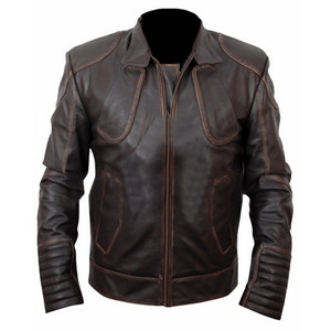 Brown Leather Snow Distressed Jacket