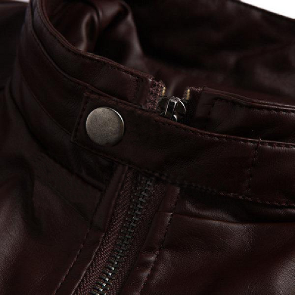 Brown Casual Real Sheep Biker Leather Jacket
