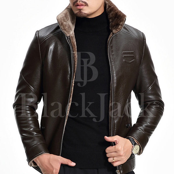 Stand Collar Shinny Leather Jacket|BlackJack Leathers