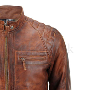 Genuine buffalo leather Motorcycle Biker Distressed Vintage Leather Jacket