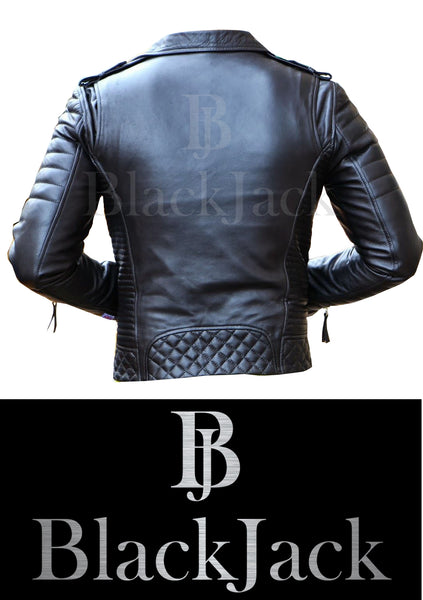 Cowhide Quilted Biker Leather Jacket|BlackJack Leathers