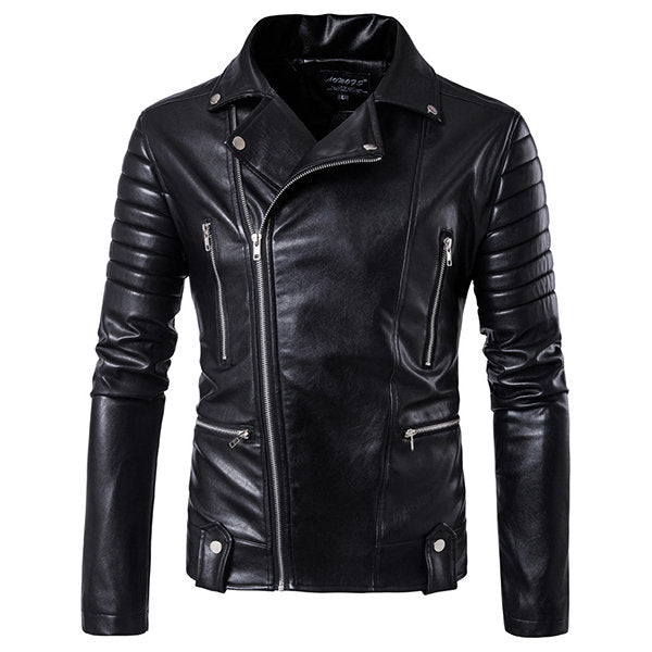 Winter Chest Pocket Leather Jacket