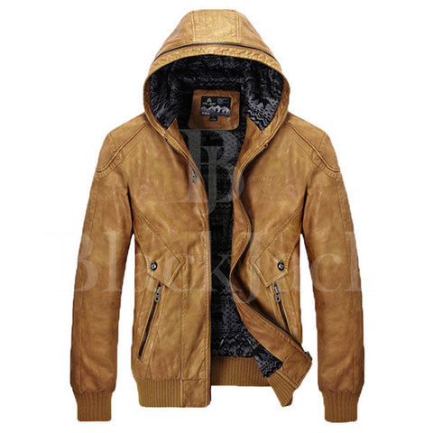 Slim Fit Hooded Leather Jacket|BlackJack Leathers