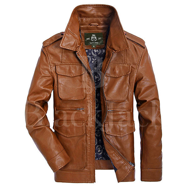 Turn-Down Collar Sheep Leather Jacket|BlackJack Leathers