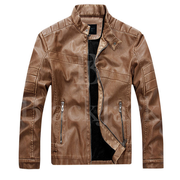 Casual Zipper Cuffs Leather Jacket|BlackJack Leathers