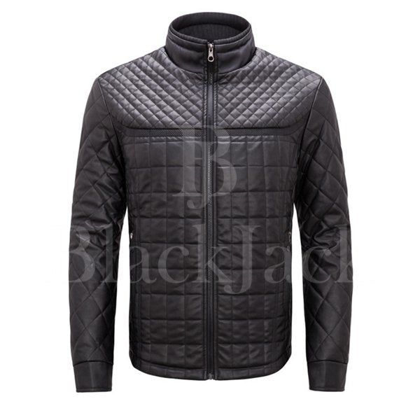 Casual Stand Collar Leather Jacket|BlackJack Leathers
