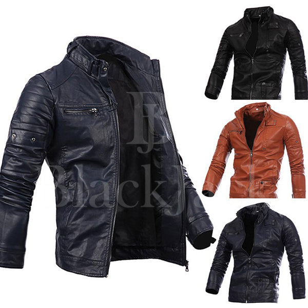Stylish Collar Button Leather Jacket|BlackJack Leathers