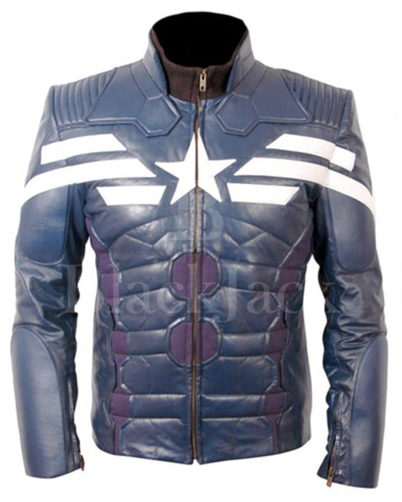 Blue Leather Captain America The Winter Soldier Jacket with White Star And  Stripes