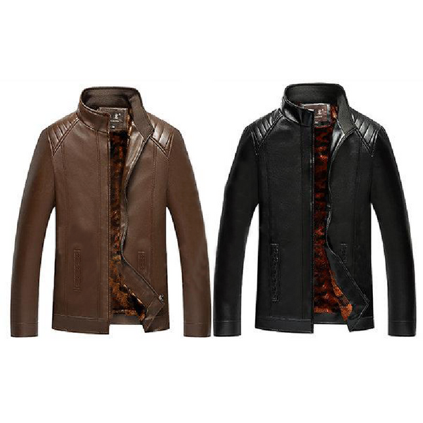 Camouflage Stand Collar Leather Jacket