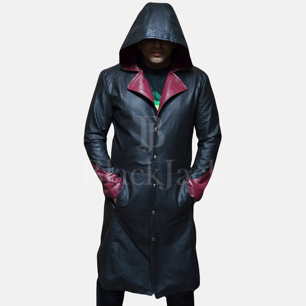 Devil Black Leather Coat