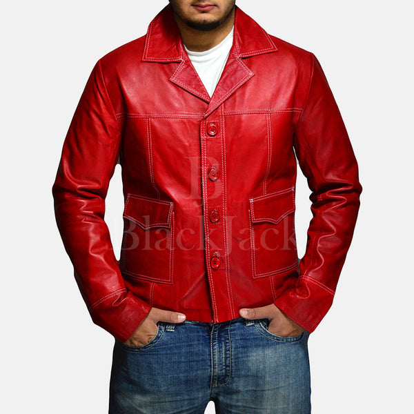 Jarama Red Leather Coat