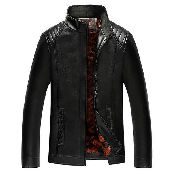 Black Camouflage Stand Collar Leather Jacket