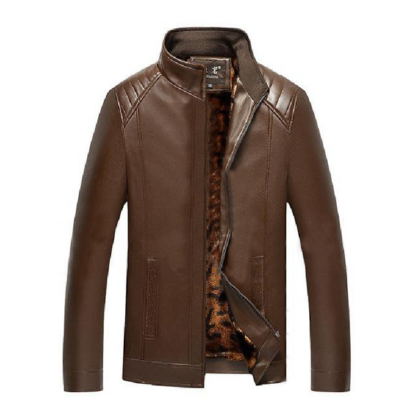 Brown Camouflage Stand Collar Leather Jacket