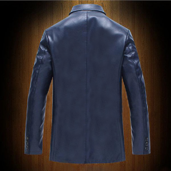 Blue Fashion Blazer Leather Jacket