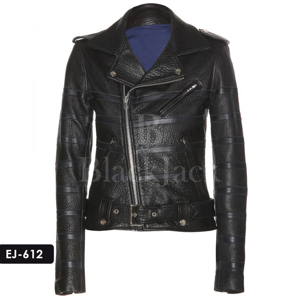 Grainy Finish Biker Leather Jacket|BlackJack Leathers