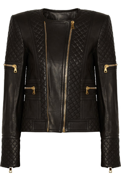 Diamond Slim fit Quilted Leather Jacket