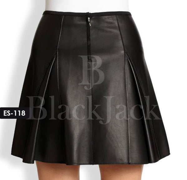 Kick Pleat Leather Skirt