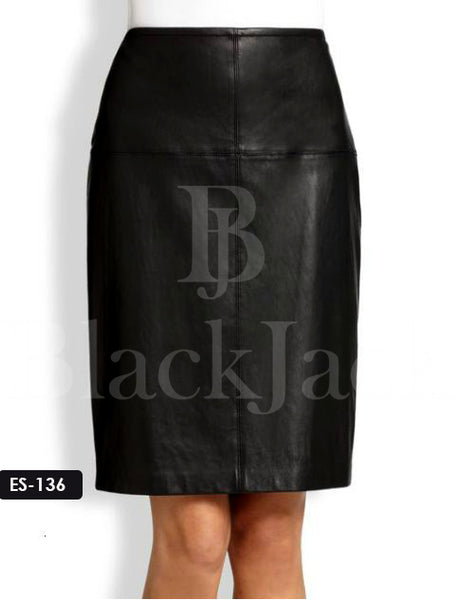 Panel Pencil Leather Skirt