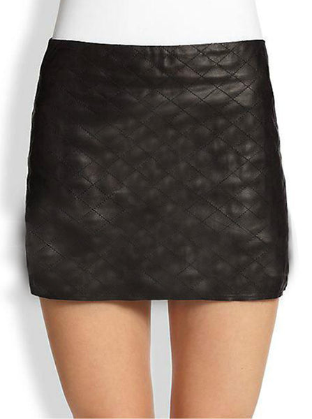 Quilted Mini Leather Skirt