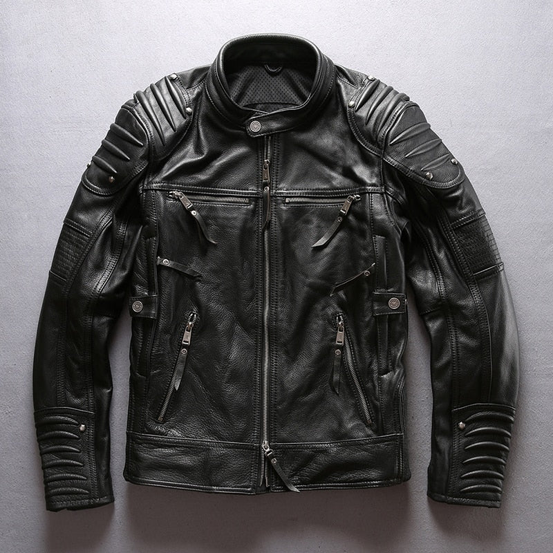 Cowhide Mandarin Collar Leather Jacket|BlackJack Leathers