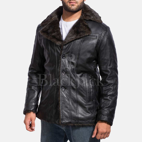 Furcliff Black Leather Coat