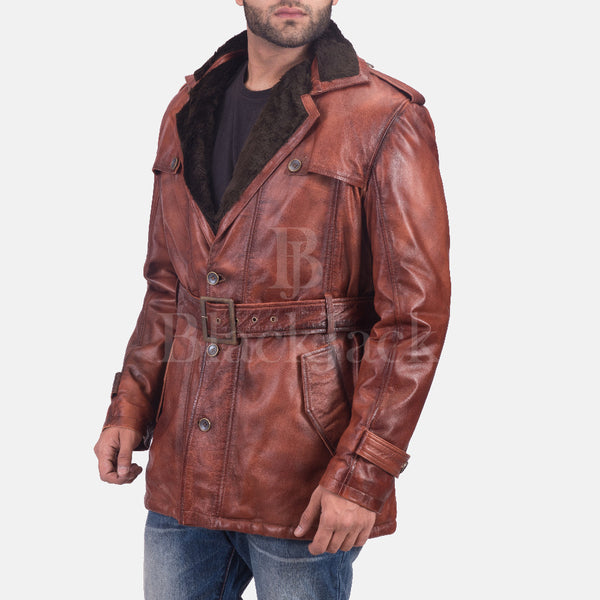Hunter Distressed Brown Fur Leather Coat