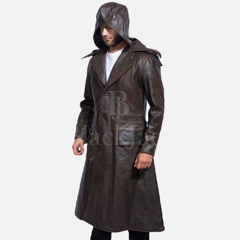 f97912804 Sledgehammer Brown Leather Trench Coat