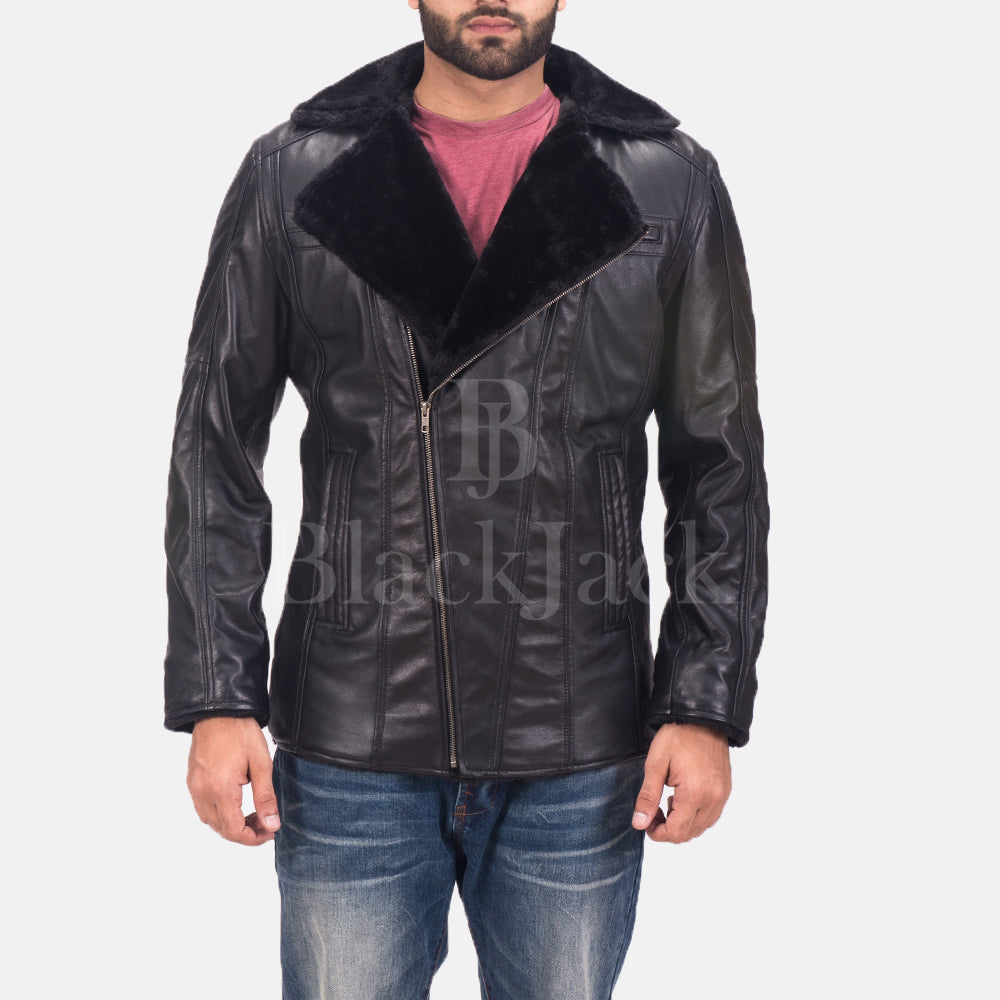 Ambrose Black Leather Coat