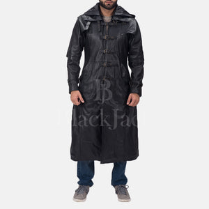 Huntsman Black Hooded Leather Coat|BlackJack Leathers