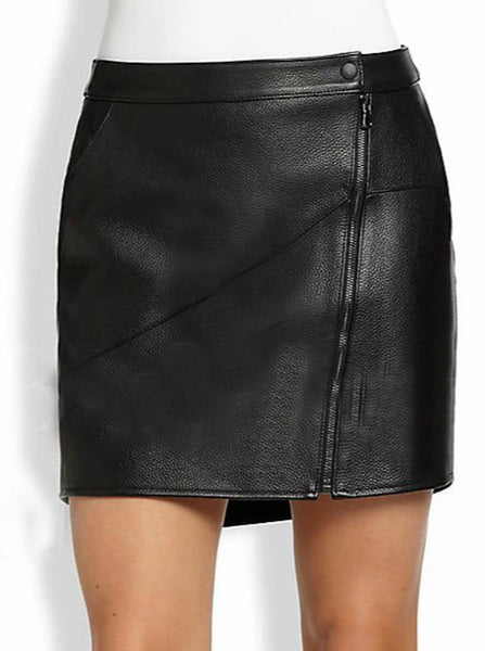 Asymmetrical Zip Front Leather Skirt | Black jack leathers