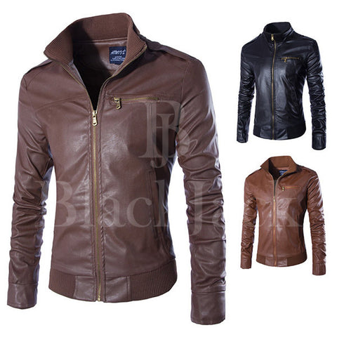 Stylish Chest Pocket Leather Jacket|BlackJack Leathers