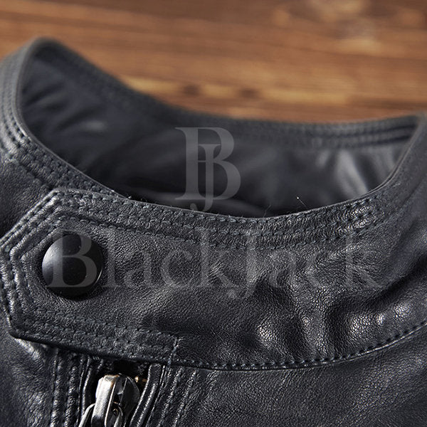Fashion Stand Collar Leather Jacket|BlackJack Leathers