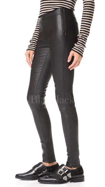 Premium Ankle Zip Leather Pants