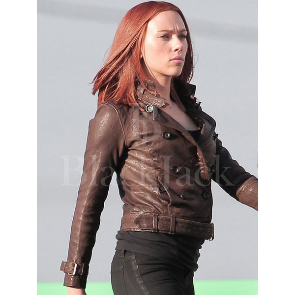 Scarlett Johanson leather jacket | Captain America