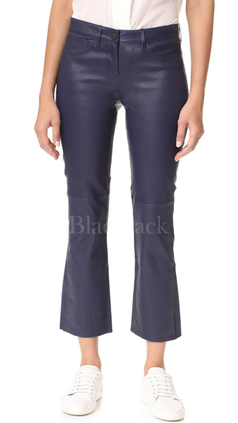 Crop Bell Leather Jeans|BlackJack Leathers
